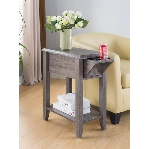 Shop Sintechno S Id161582 Side Table Storage Drawer And Cup Holders On Sale Overstock 17350806