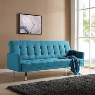 Buy Blue Sofas   Couches Online at Overstock com   Our Best Living     Handy Living Springfield Turquoise Blue Linen Click Clack Futon Sofa Bed