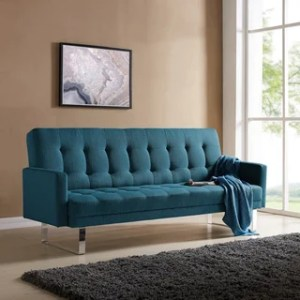 Buy Sleeper Sofa Online at Overstock com   Our Best Living Room     Handy Living Springfield Caribbean Blue Linen Click Clack Futon Sofa Bed