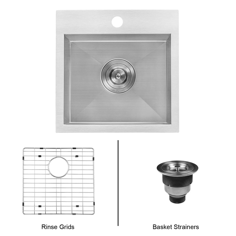 ruvati 15 x 15 inch drop in topmount bar prep sink 16 gauge stainless steel single bowl rvh8115 13 x 11 13 x 11