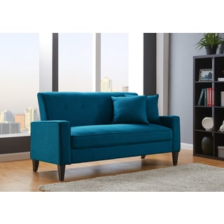 Buy Blue Sofas   Couches Online at Overstock com   Our Best Living     Porch   Den Highland Kensing Blue Linen Sofa