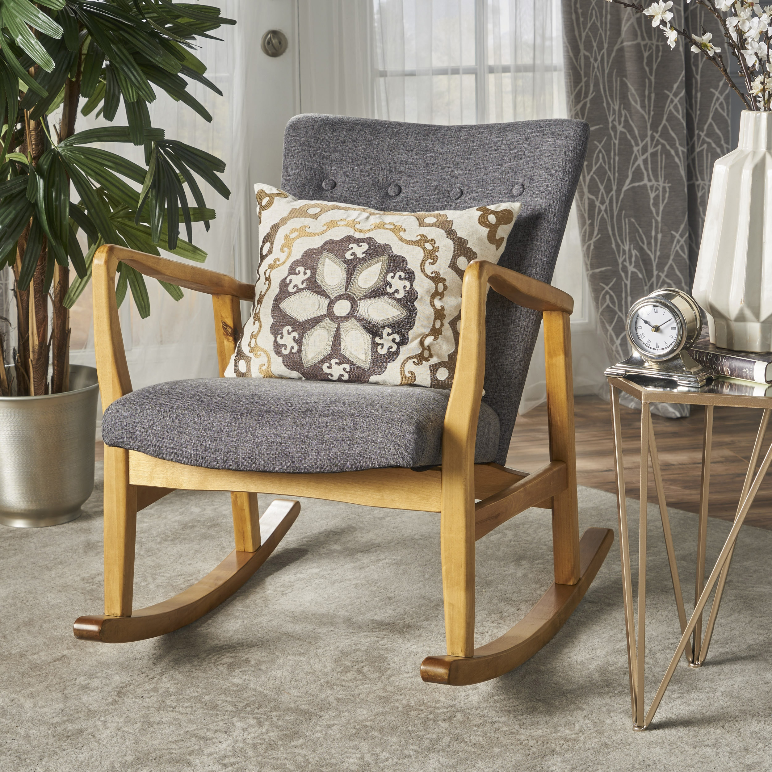 Callum Mid Century Fabric Rocking Chair By Christopher Knight Home On Sale Overstock 17801777