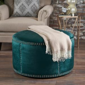 Shop Jaewon Studded Velvet Round Ottoman Stool By Christopher Knight Home On Sale Overstock 17904328 Teal