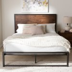 Industrial Black Metal And Brown Wood Platform Bed By Baxton Studio Overstock 17963481