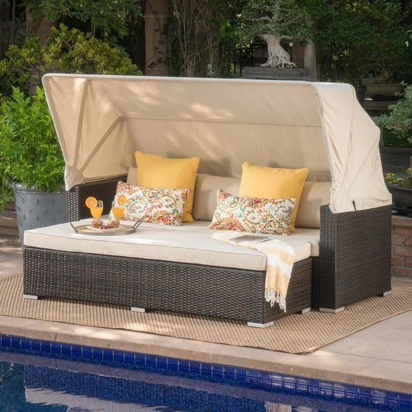 glaros outdoor aluminum wicker sofa