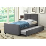Best Quality Furniture Twin Upholstered Panel Bed With Twin Trundle Bed On Sale Overstock 17983194 Fabric Grey