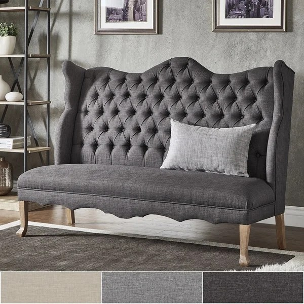 Shop Sawyer Curved Back Tufted Linen Upholstered Bench By INSPIRE Q Artisan On Sale Free
