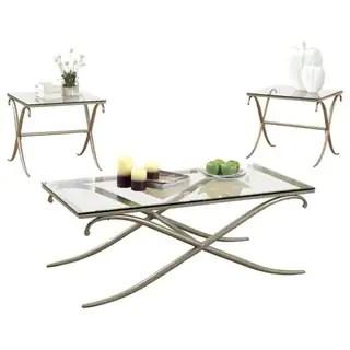 serra transitional style metallic coffee table set gold set of 3