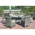 Turin Round Outdoor 7 Piece Patio Wicker Dining Set With Eton Chairs By Direct Wicker On Sale Overstock 18045241