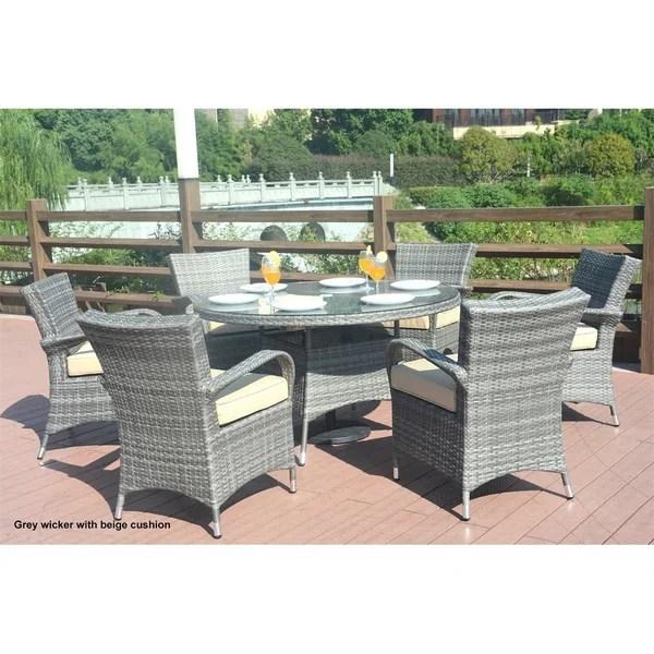 7 piece outdoor wicker patio dining sets Shop Turin Round Outdoor 7 Piece Patio Wicker Dining Set