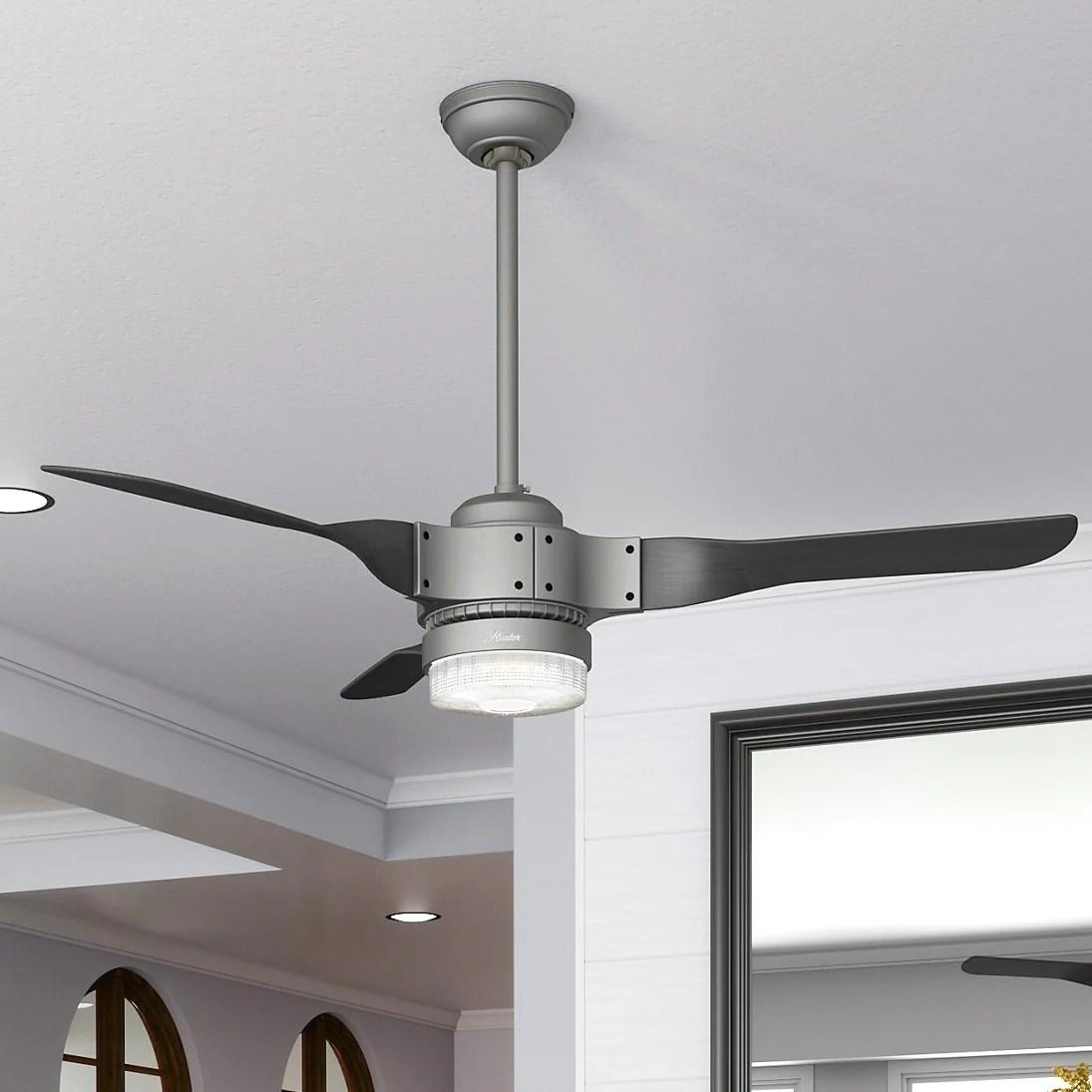Shop Hunter Fan 54 Apache Matte Silver W 3 Black Ash Blades As Is Item Overstock 31053805