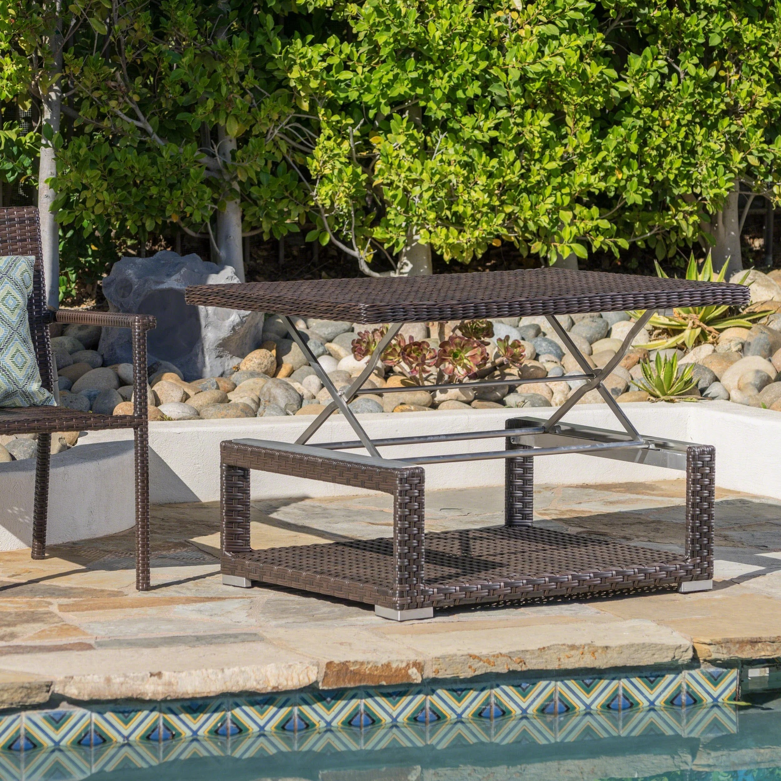 laval outdoor aluminum wicker rectangular lift top coffee table by christopher knight home