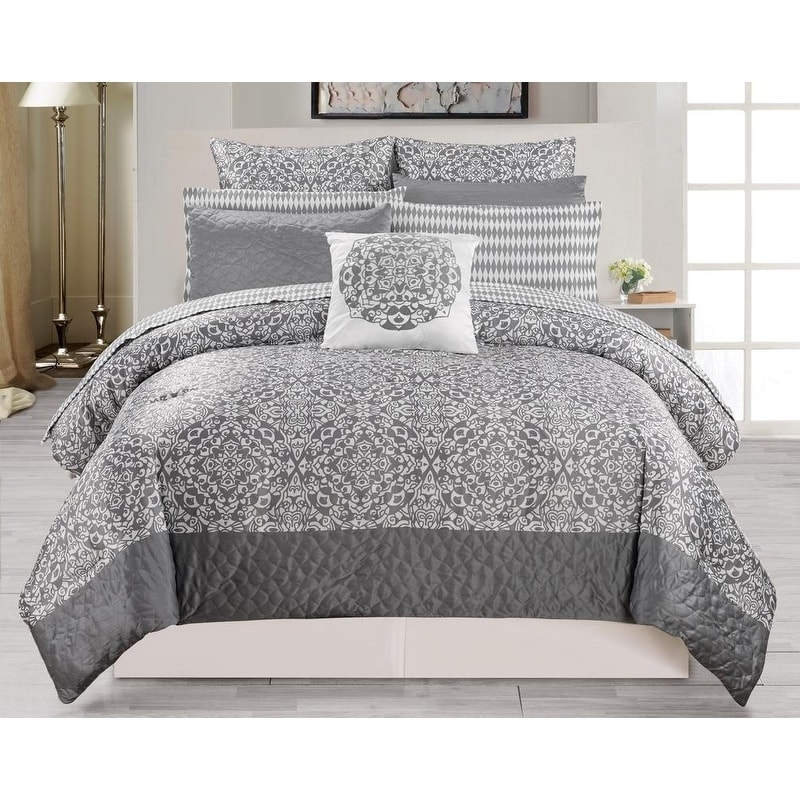 ashlea 10pc oversize overfilled queen comforter set grey