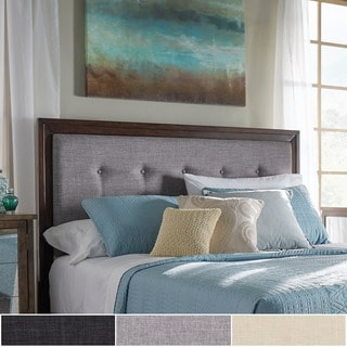 Buy Cherry Finish Headboards Online at Overstock com   Our Best     Maxwell Wood and Tufted Linen Headboard by iNSPIRE Q Classic
