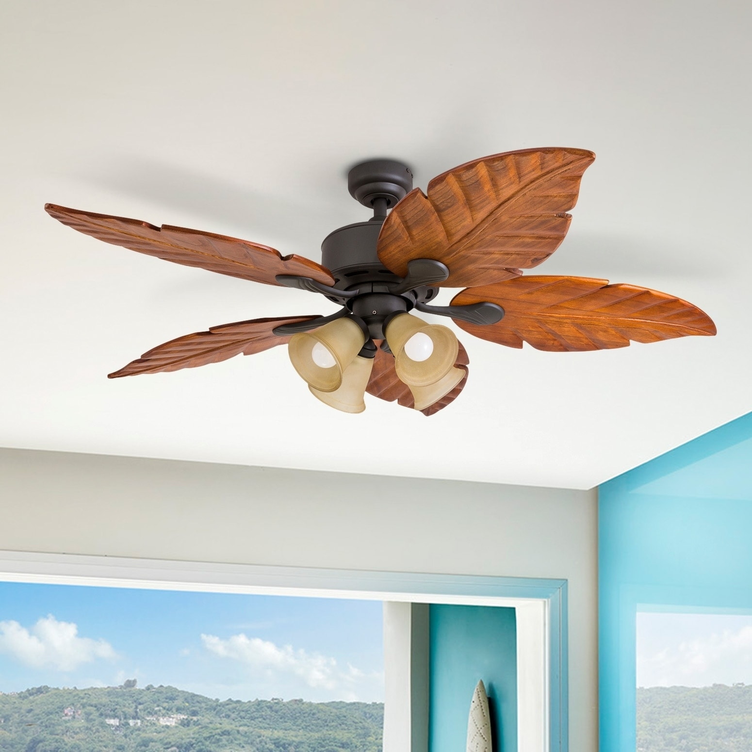 Shop Black Friday Deals On Prominence Home Bali Breeze Tropical Four Light Led Ceiling Fan Remote Control Bronze 52 Inch Overstock 18220427