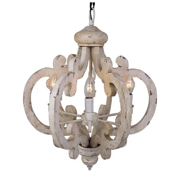 6 Light Distressed Antique White Wooden Chandelier