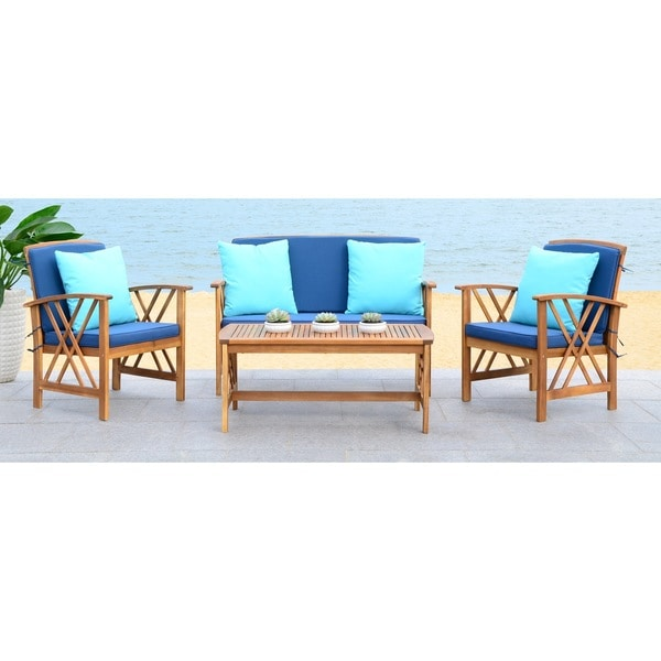 Shop Safavieh Outdoor Living Fontana Navy 4-Piece Set With ... on Outdoor Living Shop id=49363