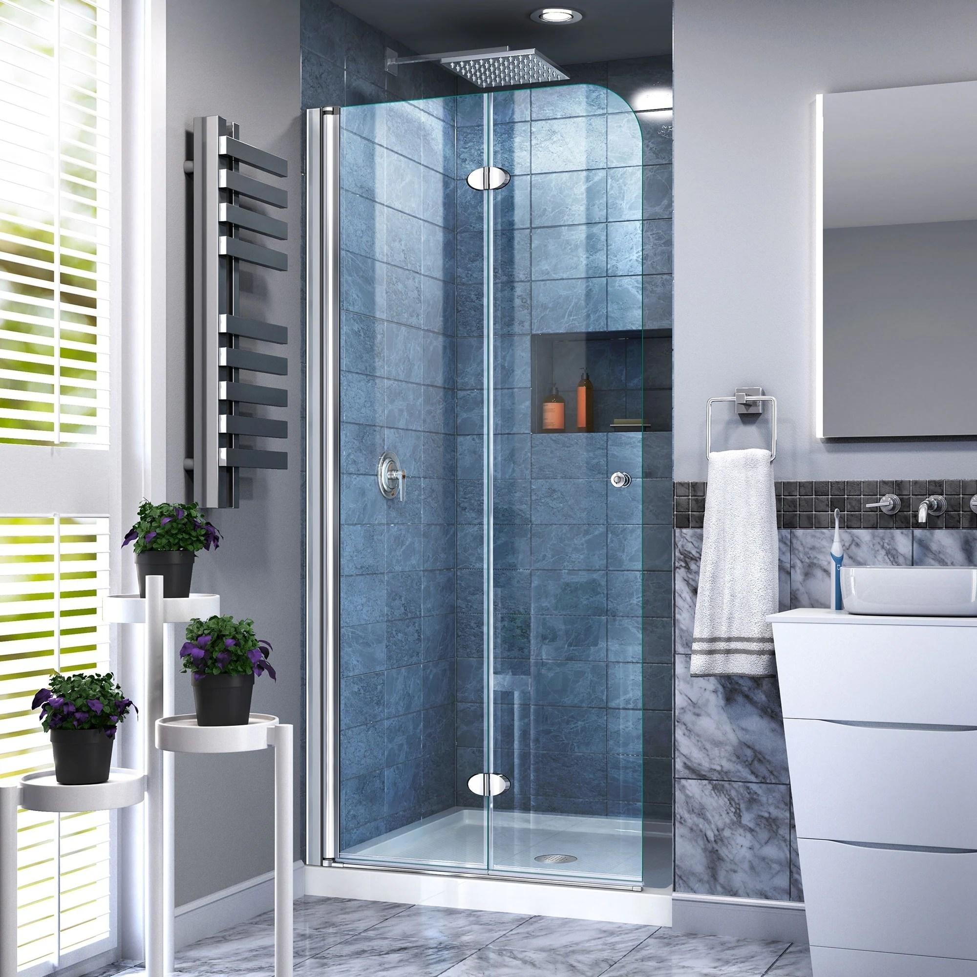 Dreamline Aqua Fold 29 1 2 In W X 72 In H Frameless Bi Fold Shower Door 29 5 W
