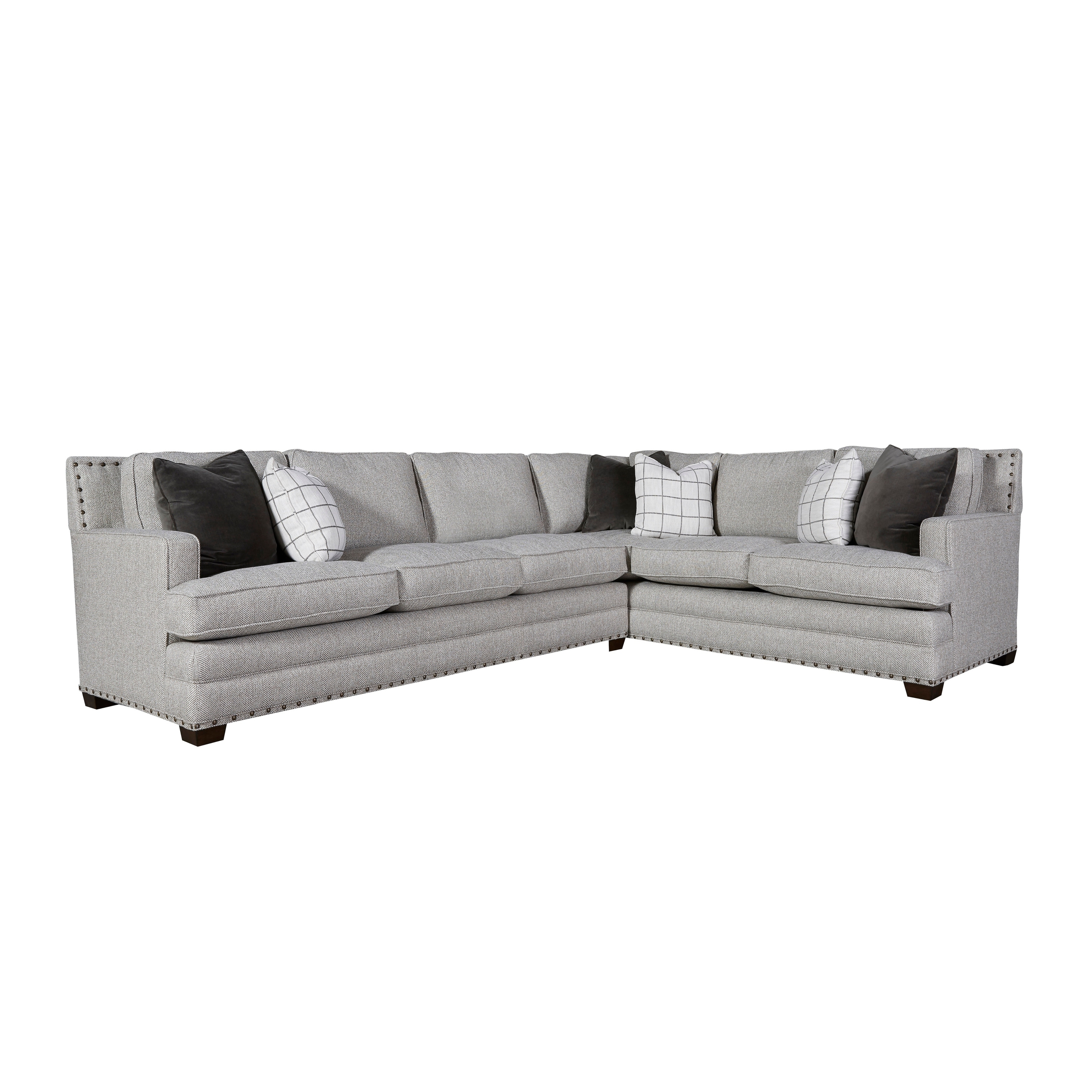 curated grey nailhead riley left arm sectional sofa