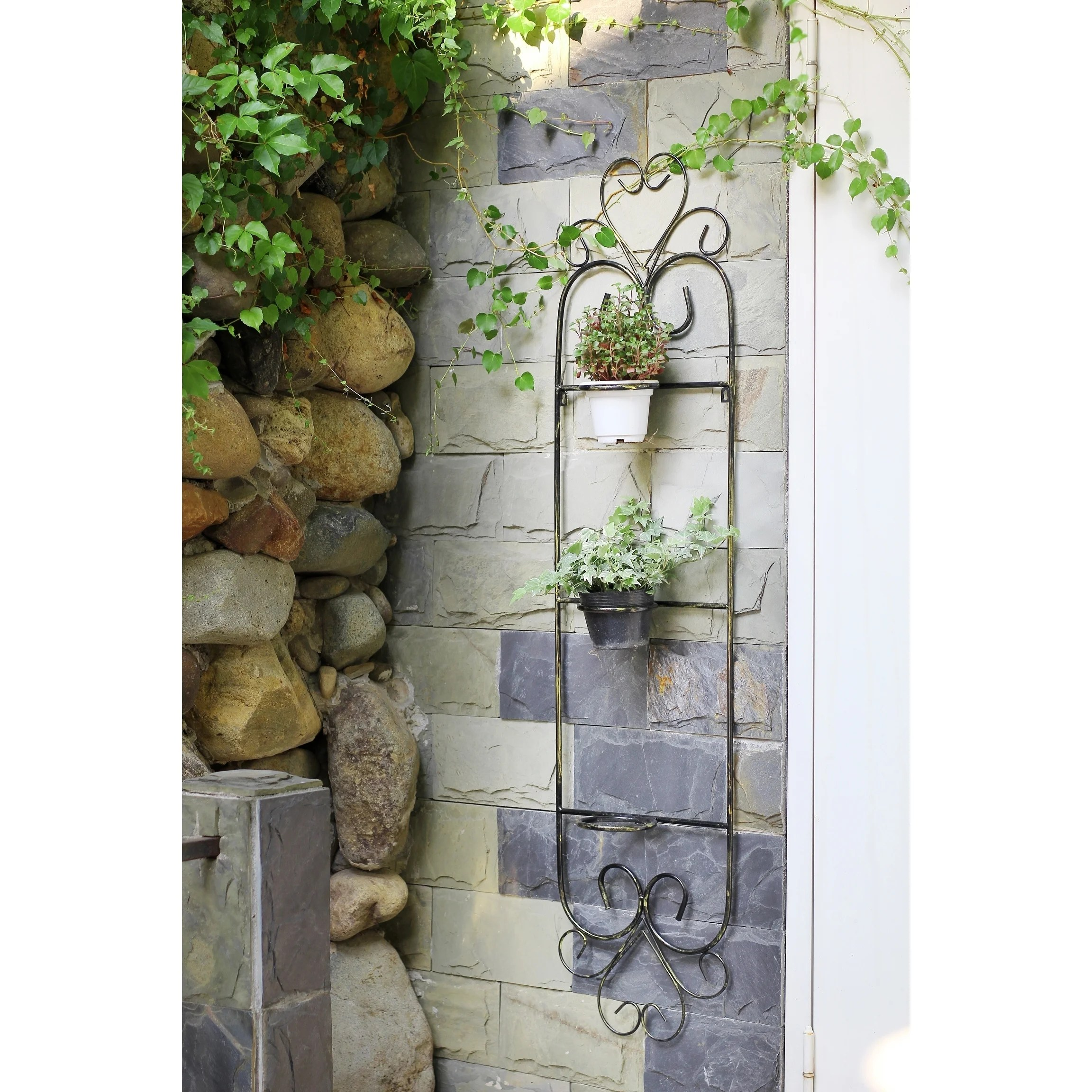 58 in. 3 Pot Plant Cast Iron Wall Planter Décor Black | eBay on Iron Wall Vases id=15762