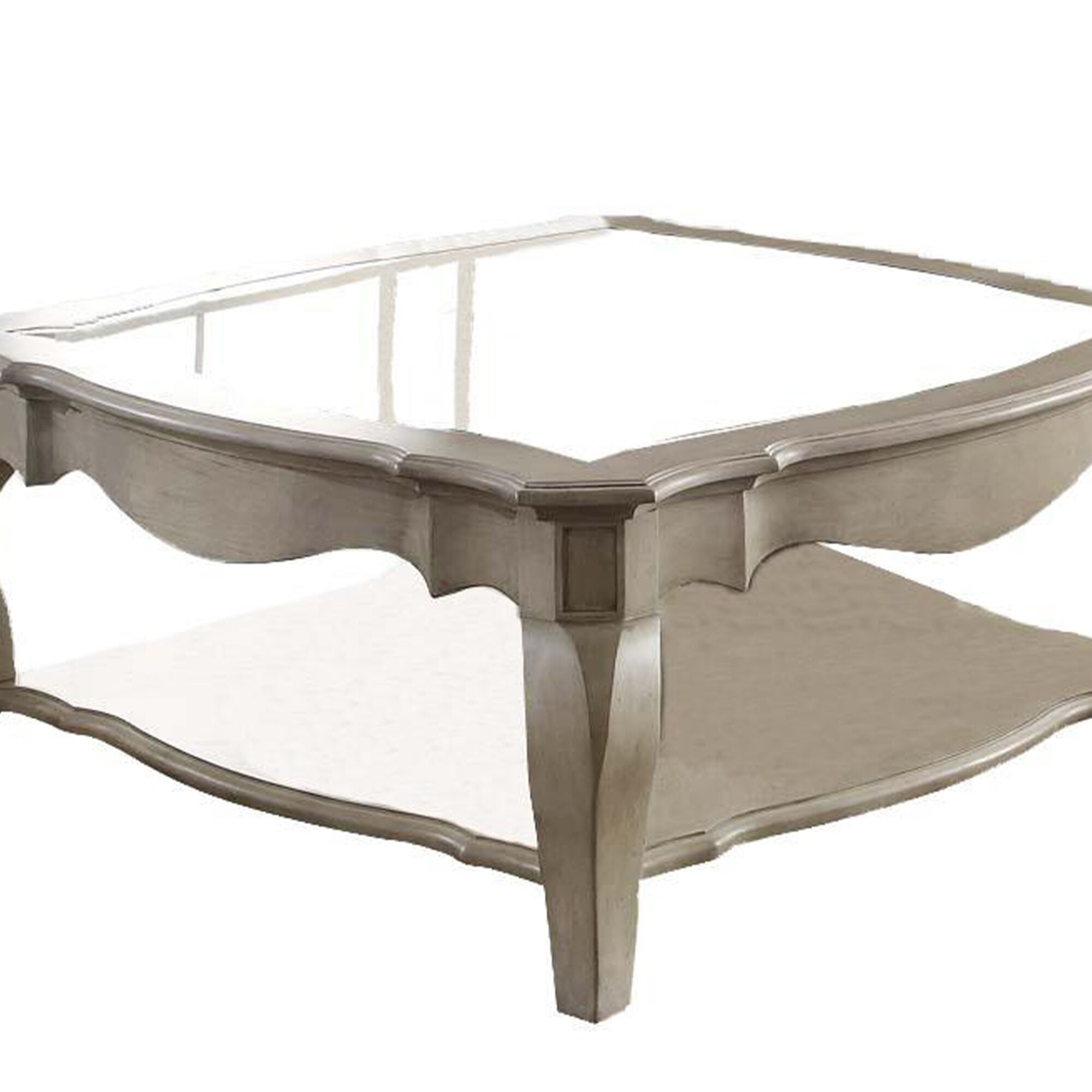 charming coffee table cream clear glass