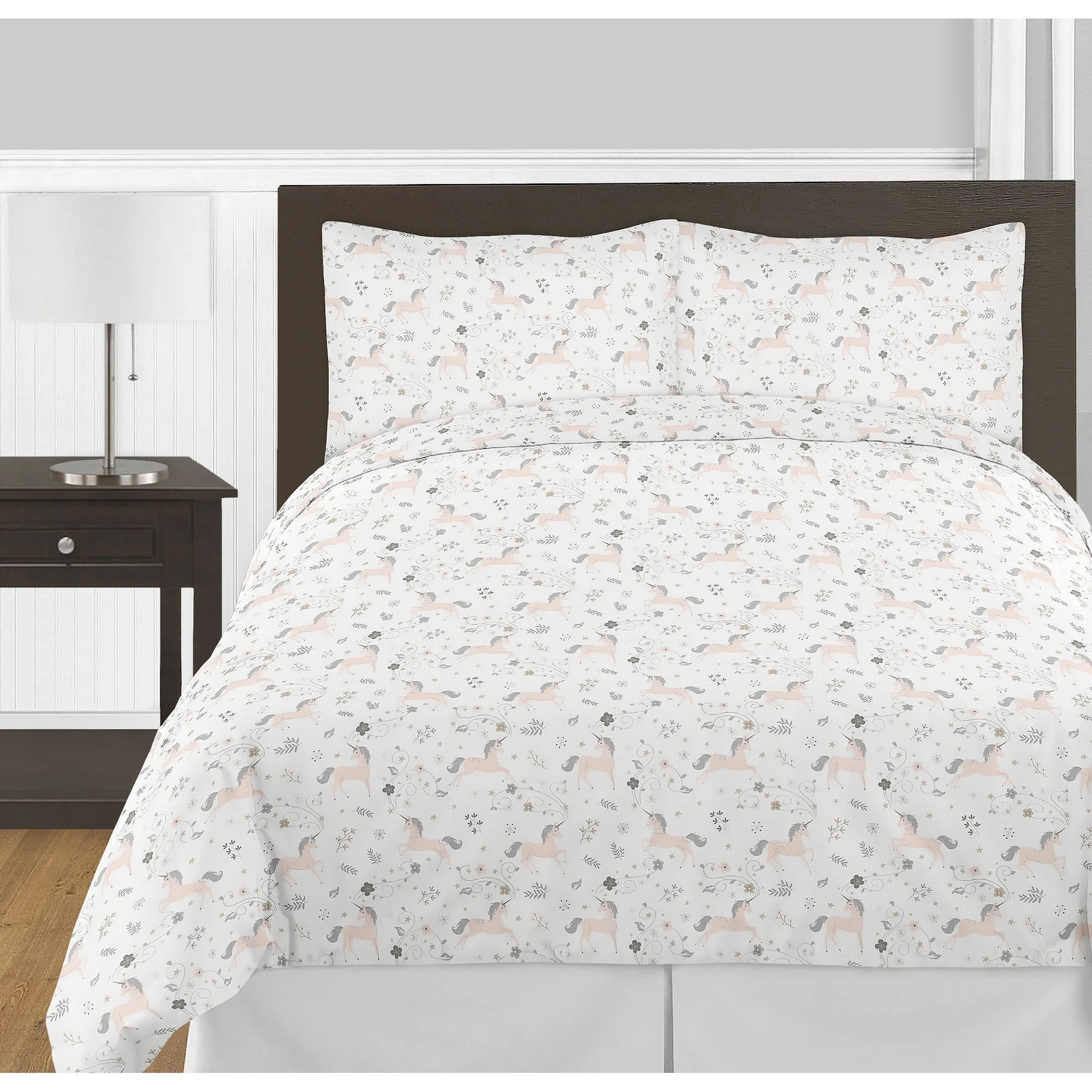 sweet jojo designs pink grey and gold unicorn collection girl 3 piece full queen size comforter set