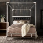 Shop Black Friday Deals On Reid Acrylic And Chrome Canopy Bed With Tufted Headboard By Inspire Q Bold Overstock 19448217 Queen Black Bonded Leather
