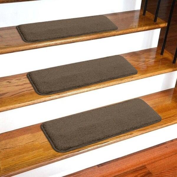 Shop Ottomanson Comfort Collection Soft Sh*G Solid Design Stair | Plush Carpet Stair Treads | True Bullnose Carpet | Super Soft | Anti Slip | Wool Carpet | Wall Carpet