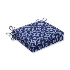 Pillow Perfect Outdoor/Indoor Aspidoras Cobalt Squared Corners Seat Cushion 20x20x3 (Set of 2)