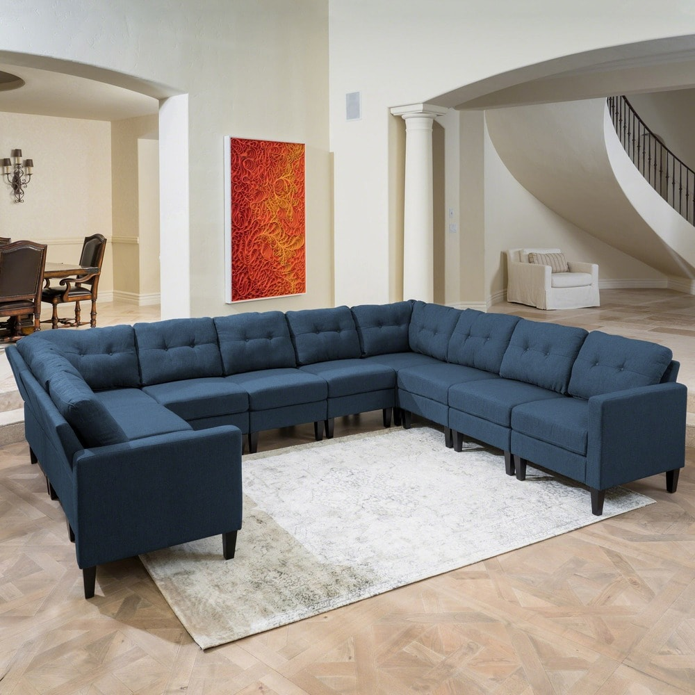 emmie mid century modern 10 piece u shaped sectional sofa set by christopher knight home