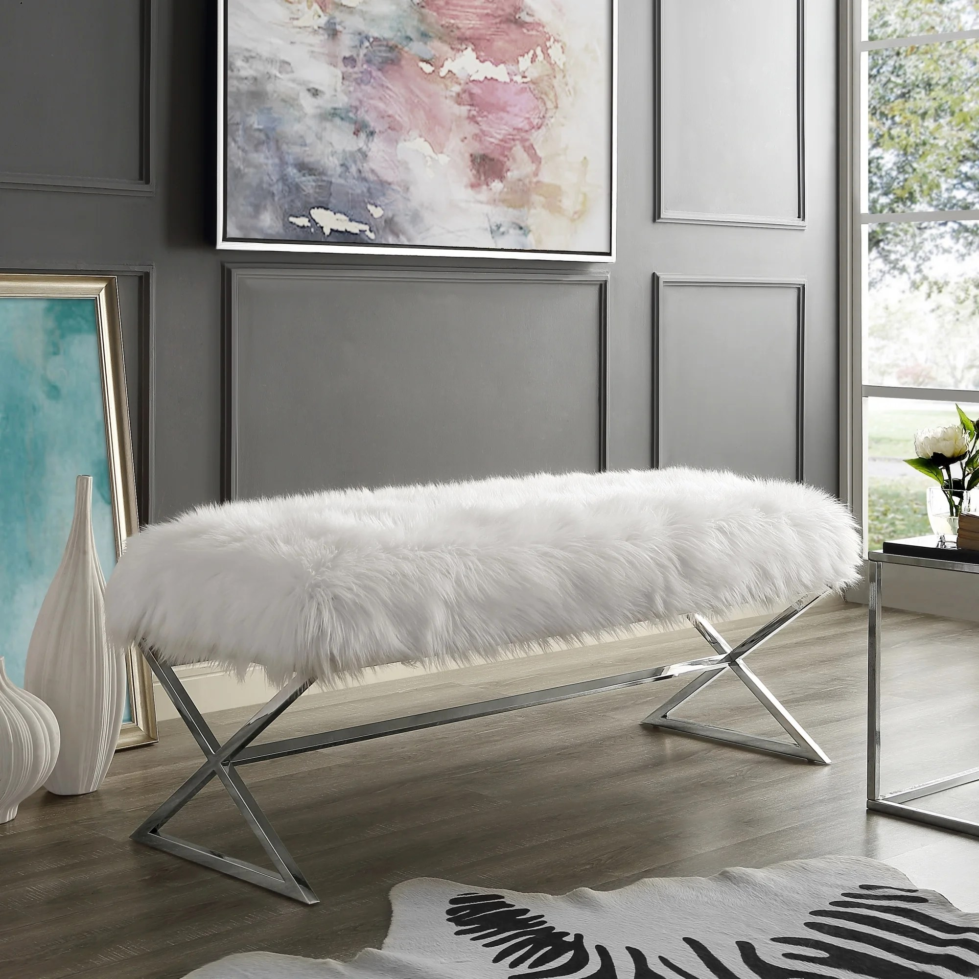 Della Entryway Faux Fur Bench With Gold Or Chrome X Legs On Sale Overstock 19549066