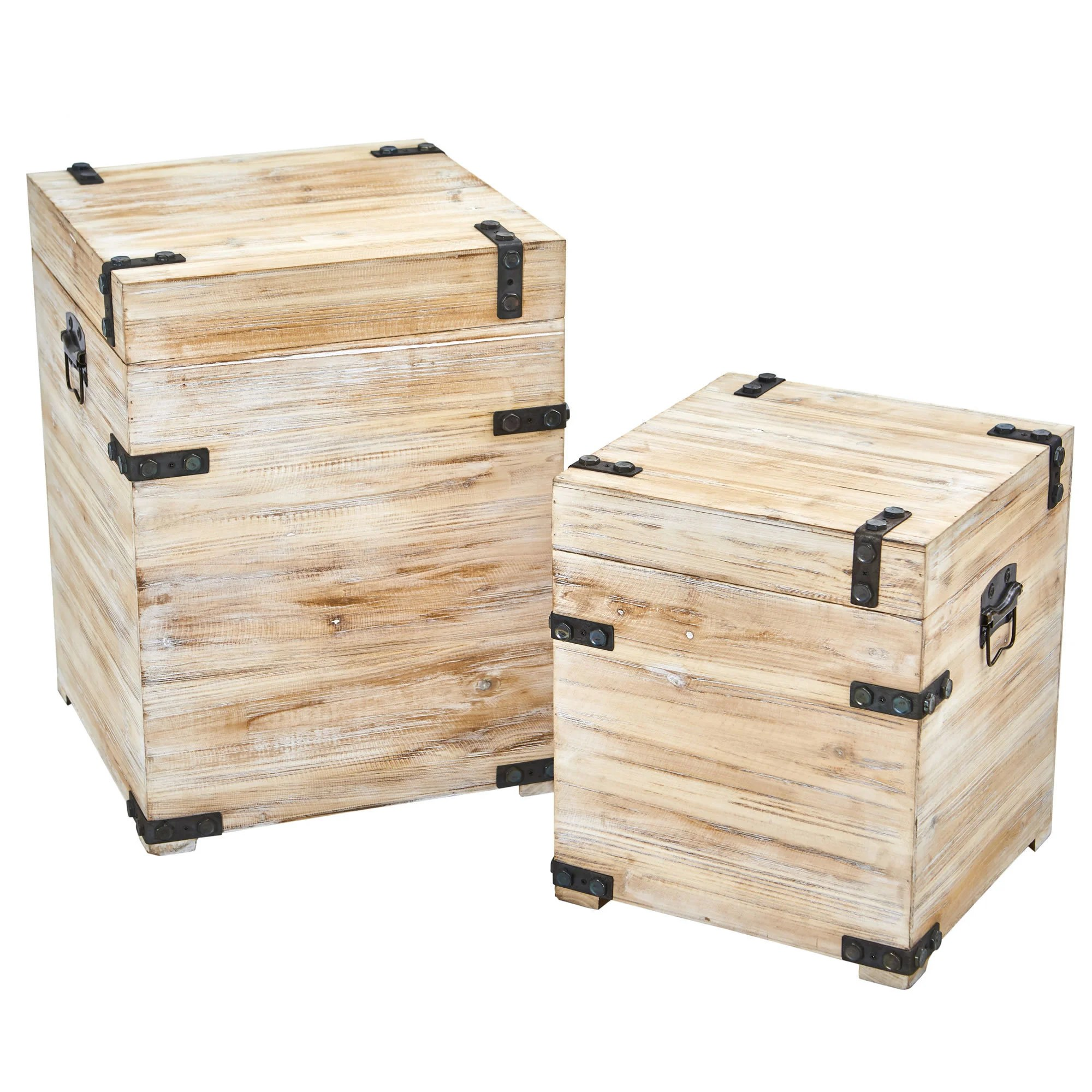 Shop Black Friday Deals On Decorative White Wash Storage Boxes Trunks With Metal Detail Set Of 2 On Sale Overstock 19627791
