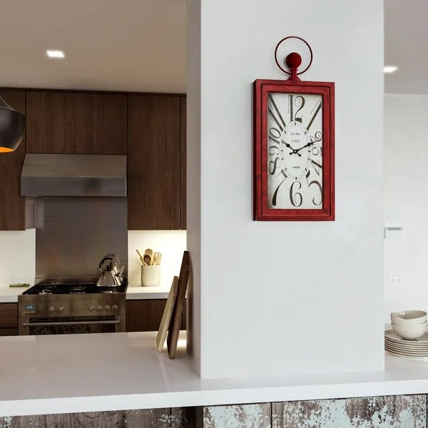 Shop Yosemite Home D    cor  Waverly Red  Wall Clock   On Sale   Free     Yosemite Home D    cor  Waverly Red