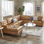 Shop Black Friday Deals On Odin Caramel Leather Gel L Shape Sectional With Chaise By Inspire Q Modern On Sale Overstock 19819313