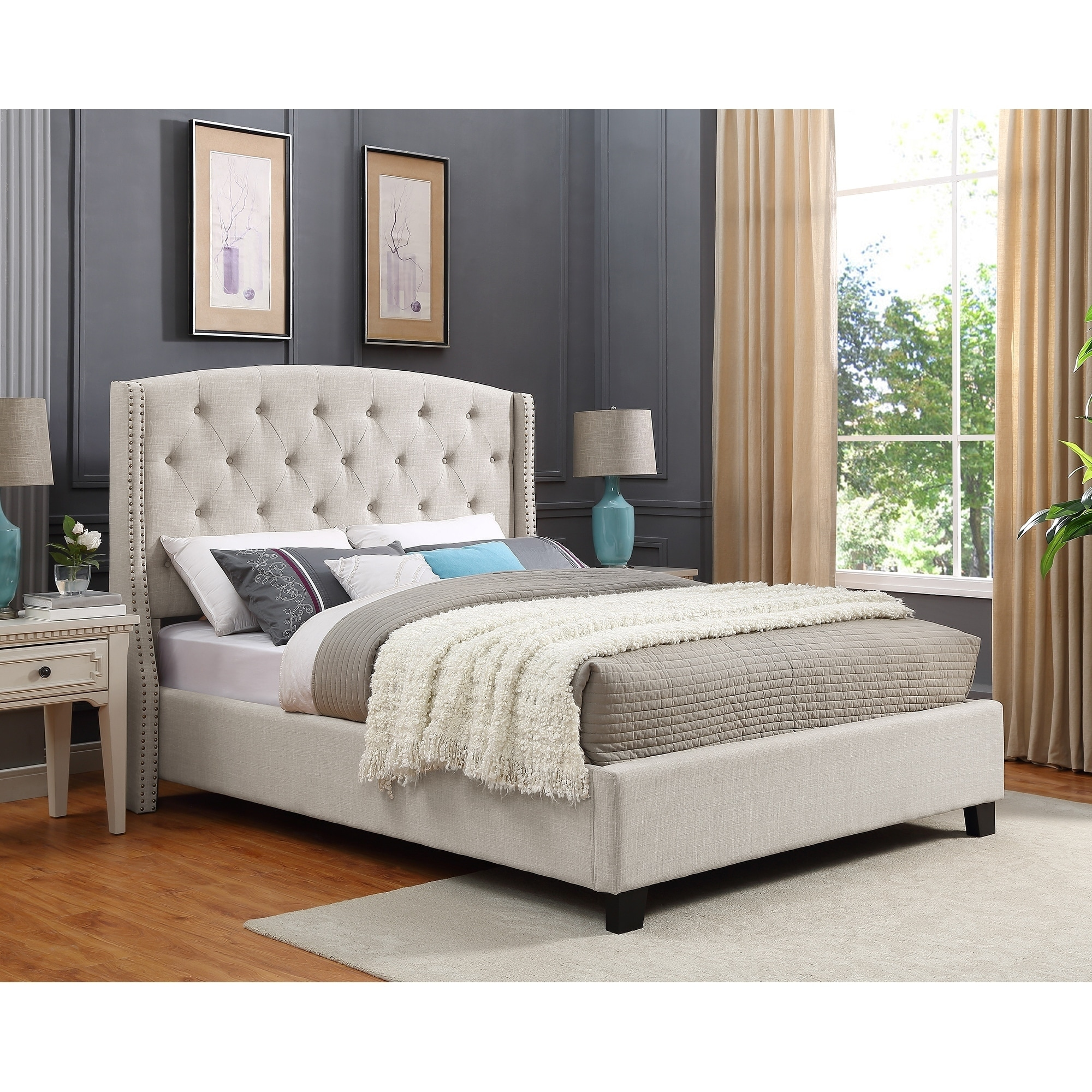 nantarre fabric tufted wingback upholstered bed with nailhead trim tan