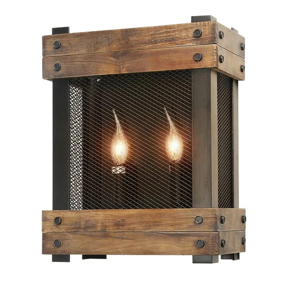 Shop LNC Rustic Wall Sconces Wood Wall Lamp 2-light Indoor ... on Wood Wall Sconces id=40696