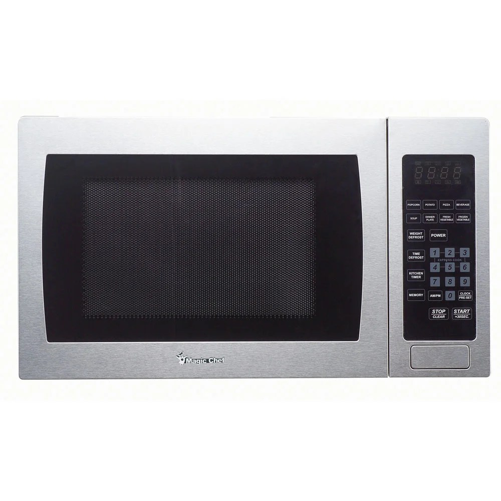 magic chef 0 9 cu ft 900w countertop microwave oven with stainless steel front