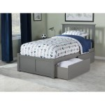 Mission Twin Xl Platform Bed With Flat Panel Foot Board And 2 Urban Bed Drawers In Grey Overstock 19864616