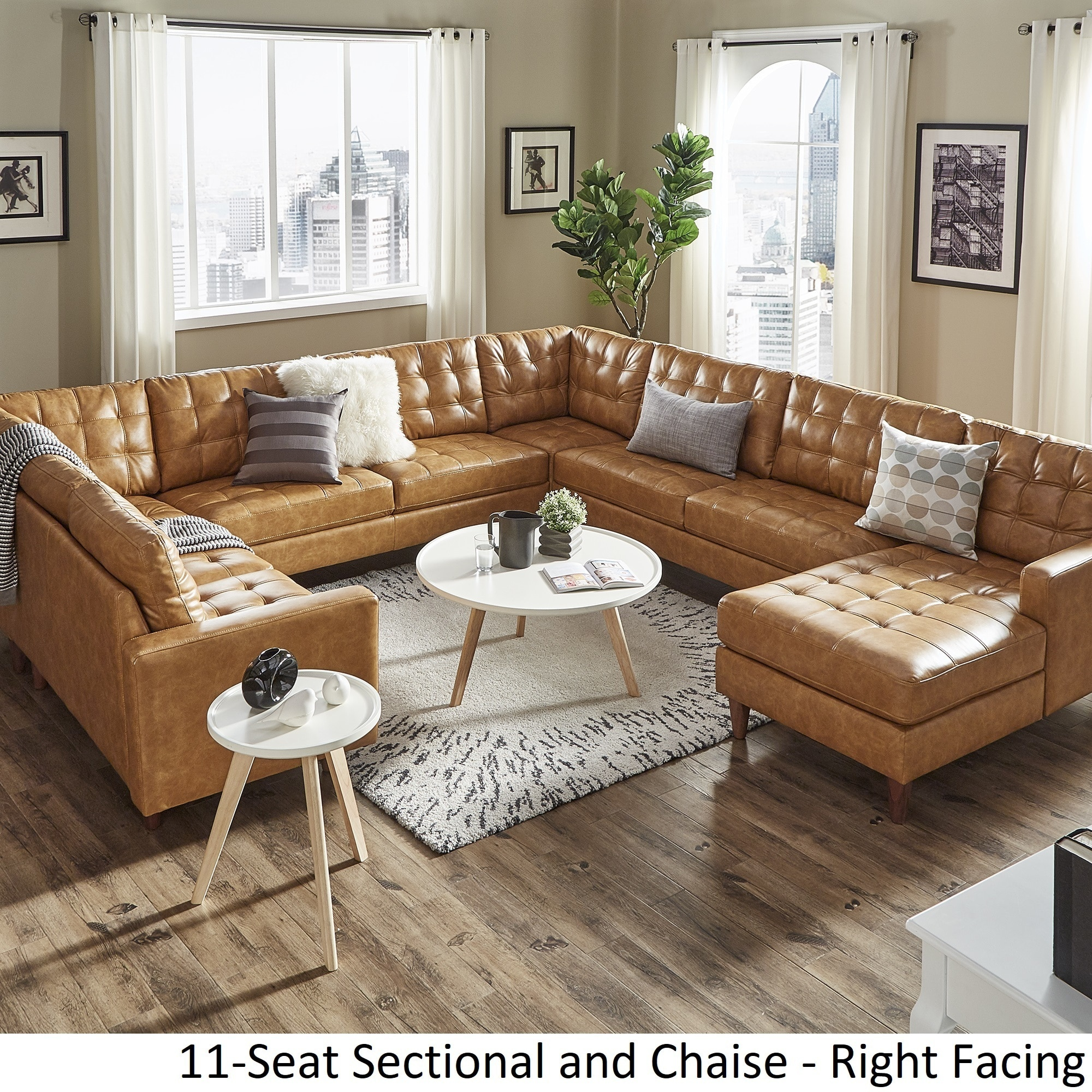 odin caramel leather gel u shape sectional with chaise by inspire q modern
