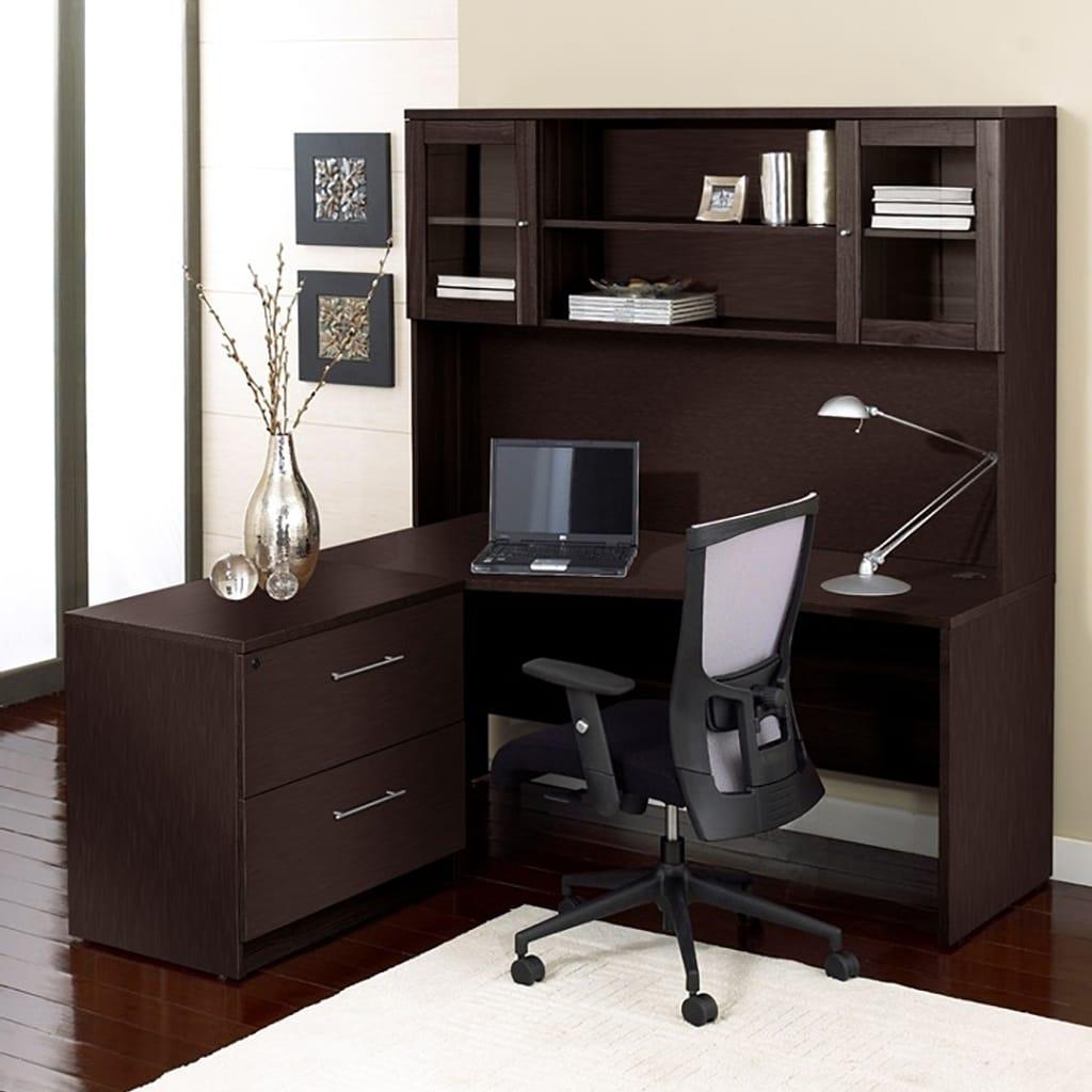 premium pro corner l shaped desk with hutch