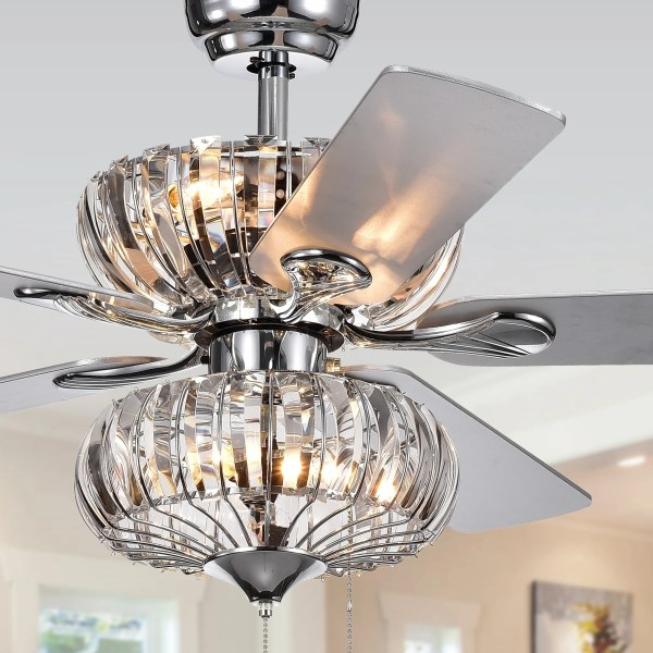 Buy Ceiling Fans With Lights Online at Overstock com   Our Best     Kyana 6 light Crystal 5 blade 52 inch Chrome Ceiling Fan  Remote
