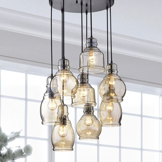 Buy Chandeliers Online at Overstock com   Our Best Lighting Deals Mariana Cognac Glass Cluster Pendant in Antique Black Finish