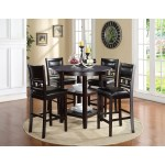 Gia Ebony Counter Height Round Table 5 Piece Dining Set Overstock 20222785