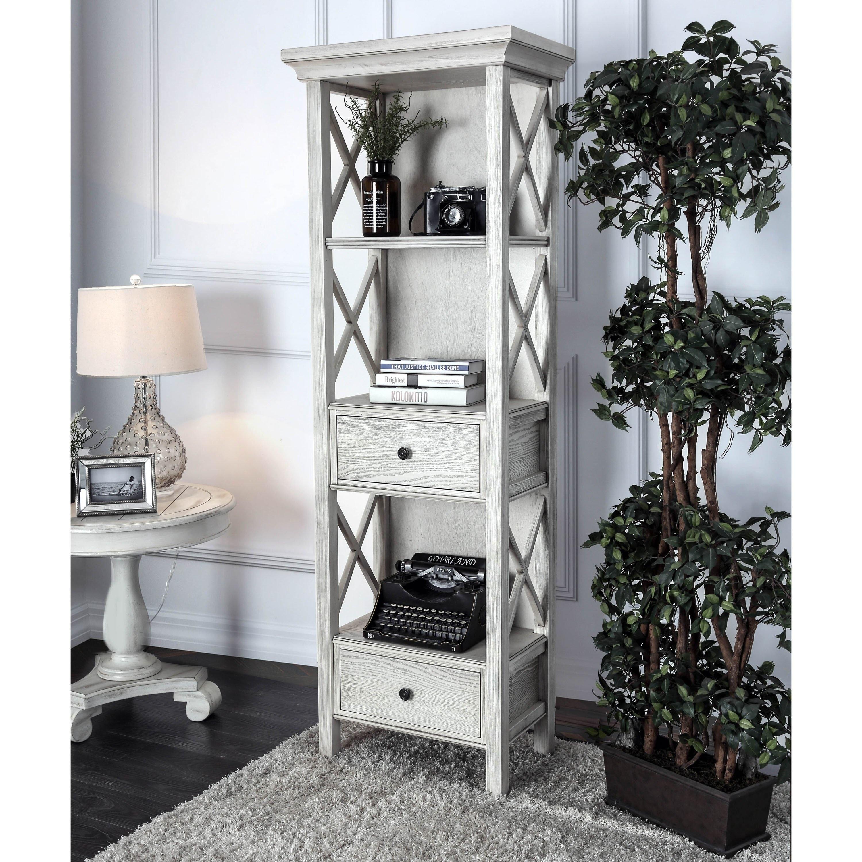 Furniture Of America Biel Rustic White Solid Wood Storage Bookshelf
