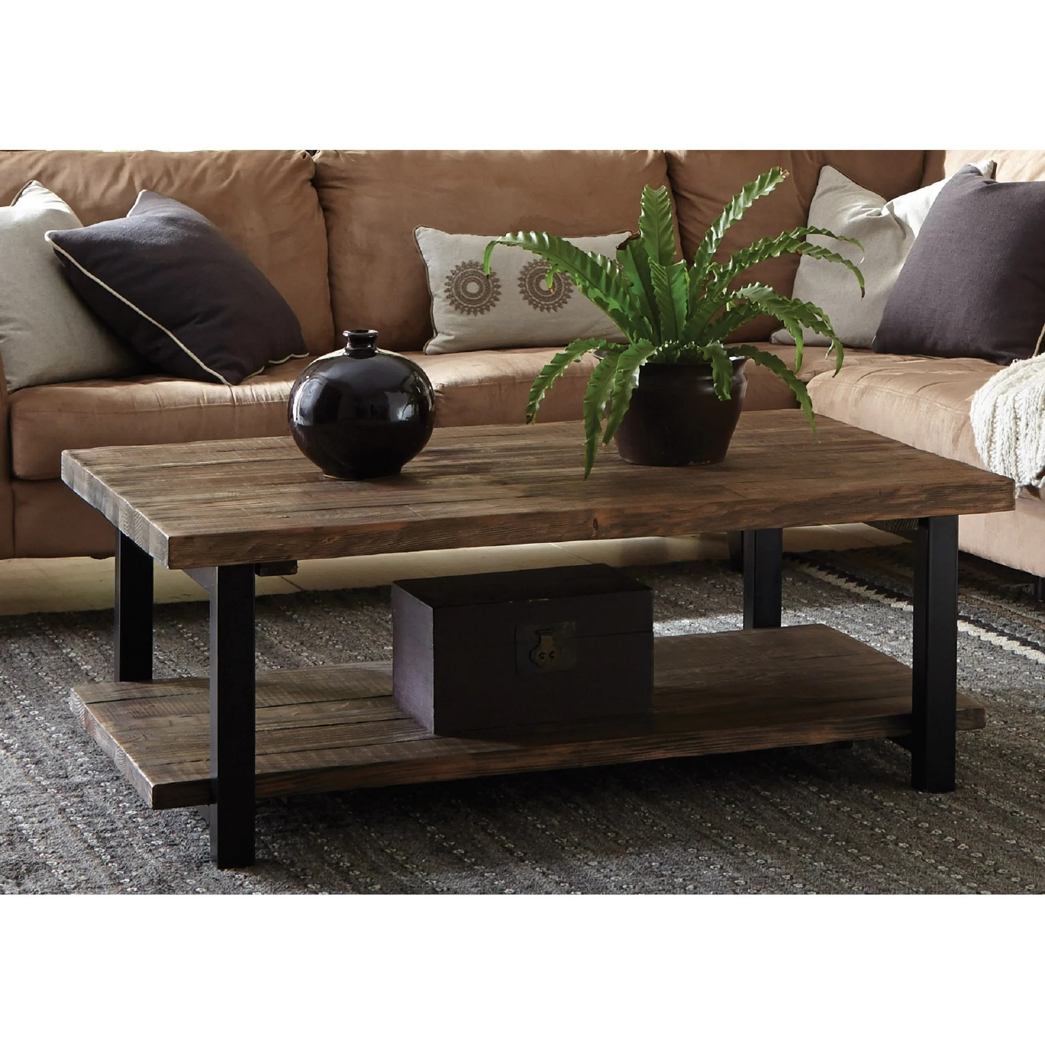 carbon loft lawrence 48 inch metal and reclaimed wood coffee table