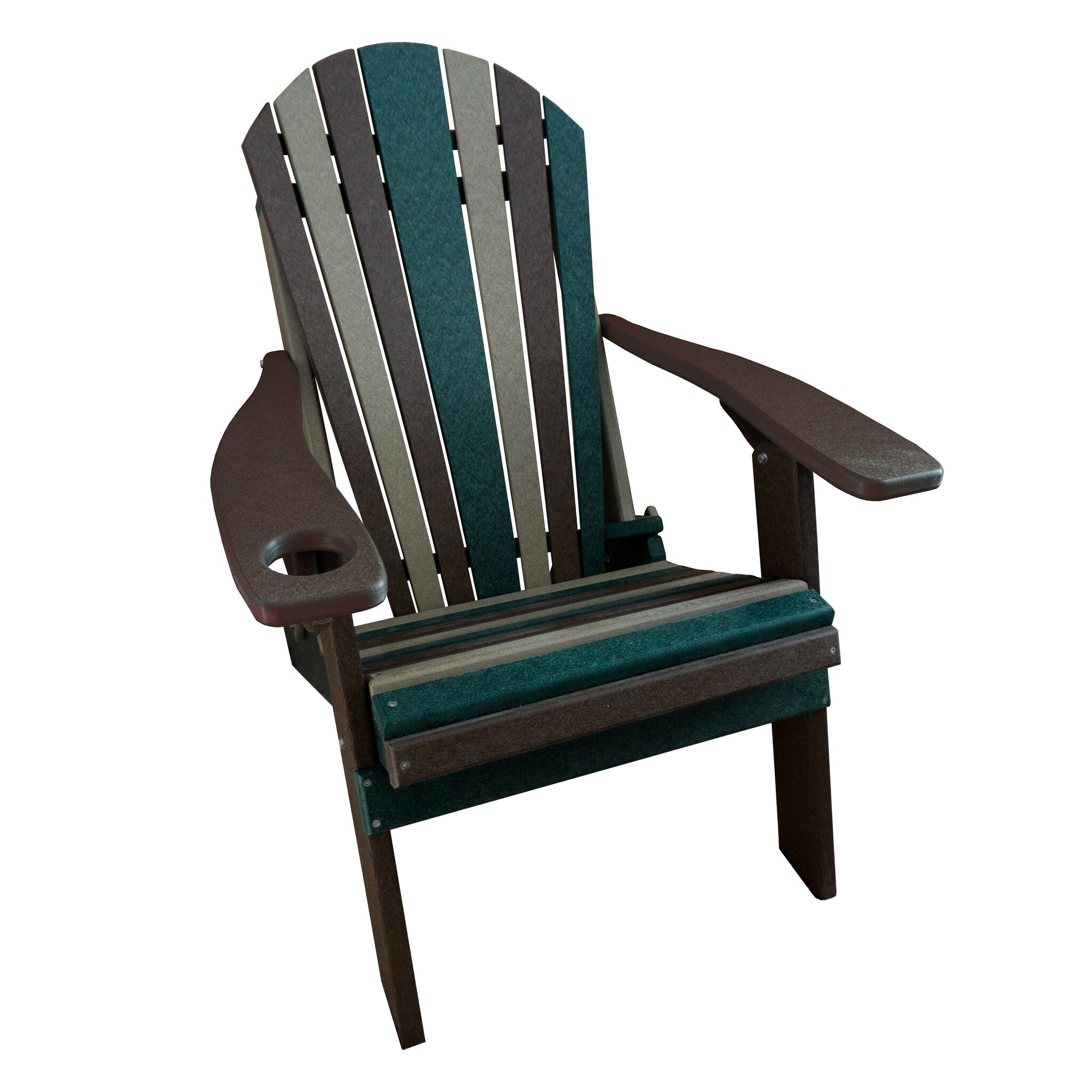 Camo Folding Adirondack Chair 1 Cup Holder Poly Lumber