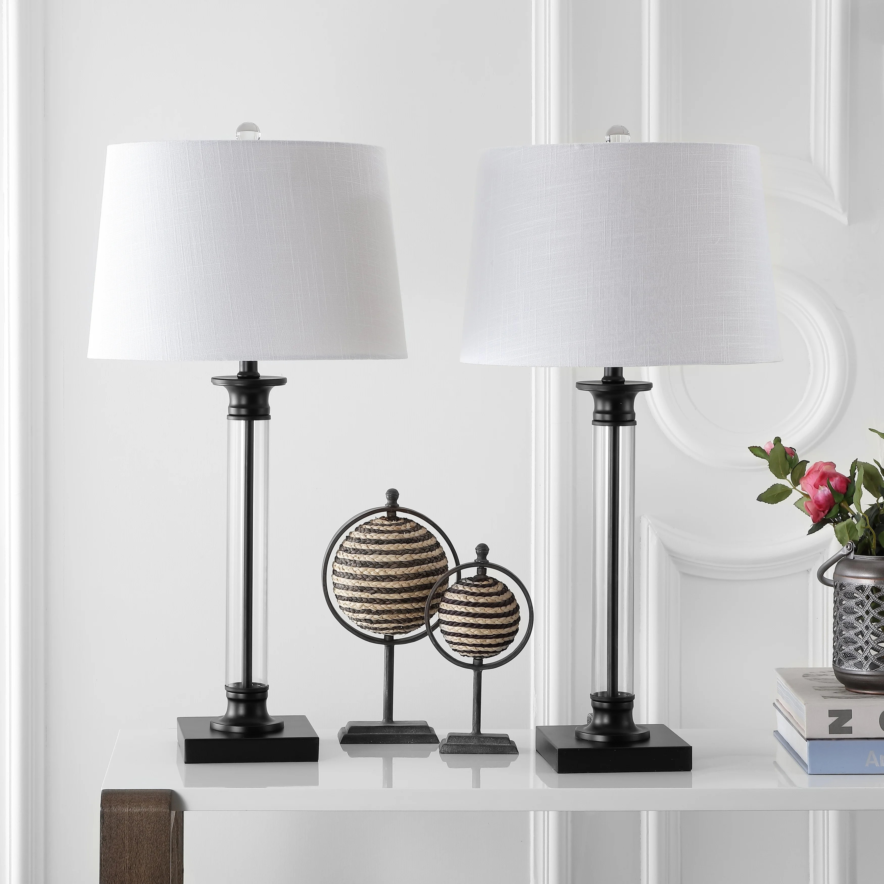 Mason 30 Glass And Metal Led Table Lamp Black Clear Set Of 2 By Jonathan Y On Sale Overstock 20447521