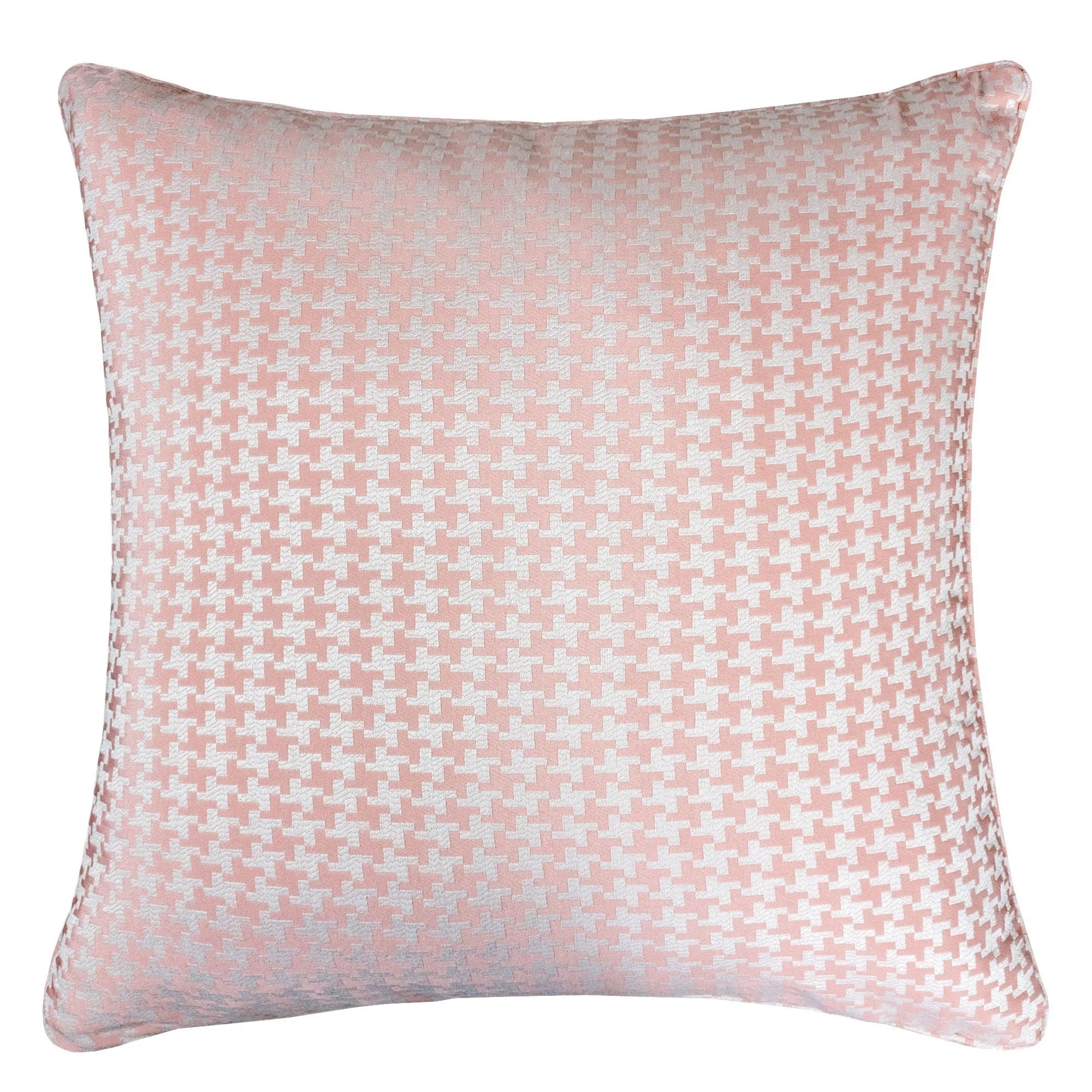 jacquard cotton throw pillow cover pink houndstooth modern silk plaid textured sofa couch decorative pillow 20 x 20 inch