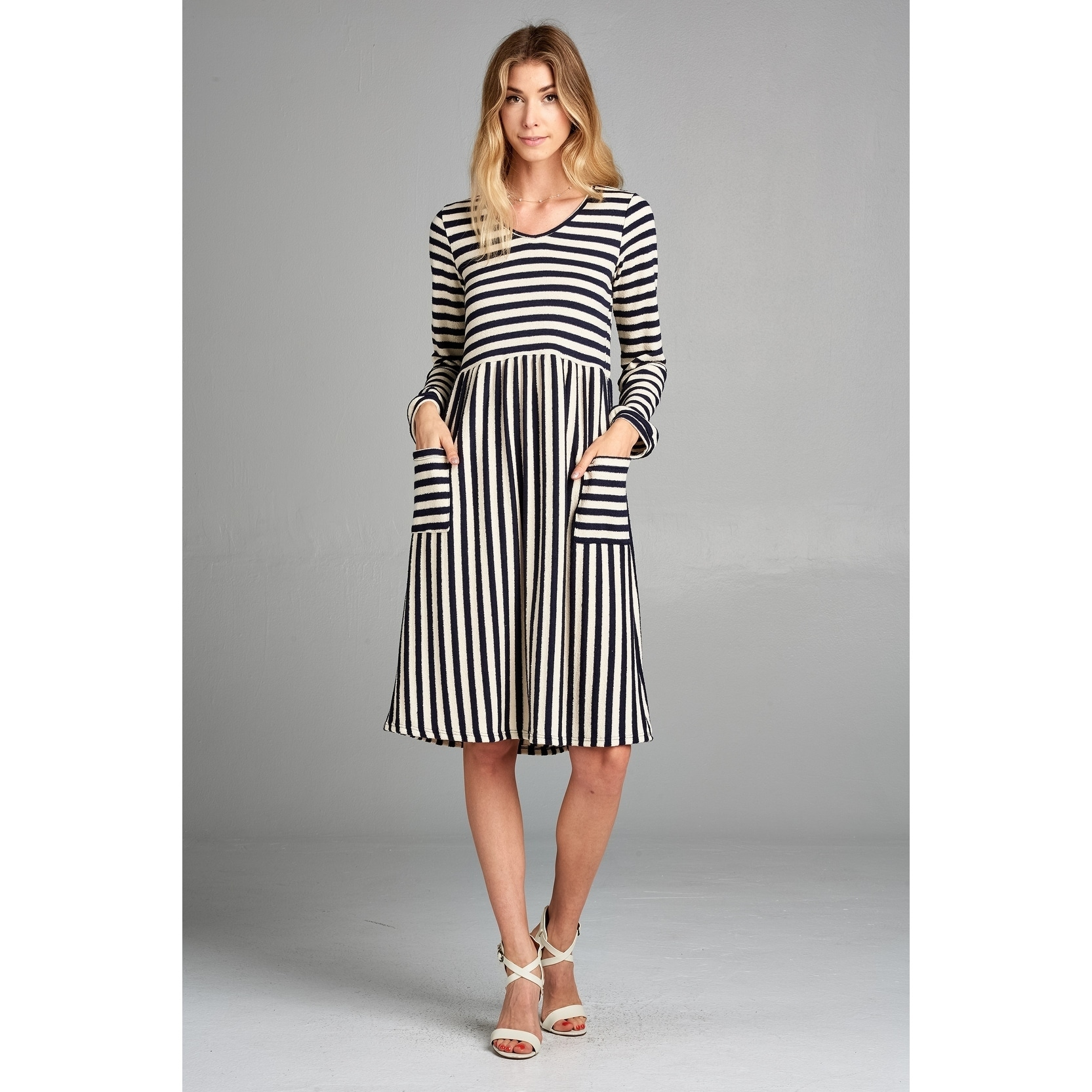 A Line Dresses   Find Great Women s Clothing Deals Shopping at     Spicy Mix Binx Striped Terry Dress With Pockets