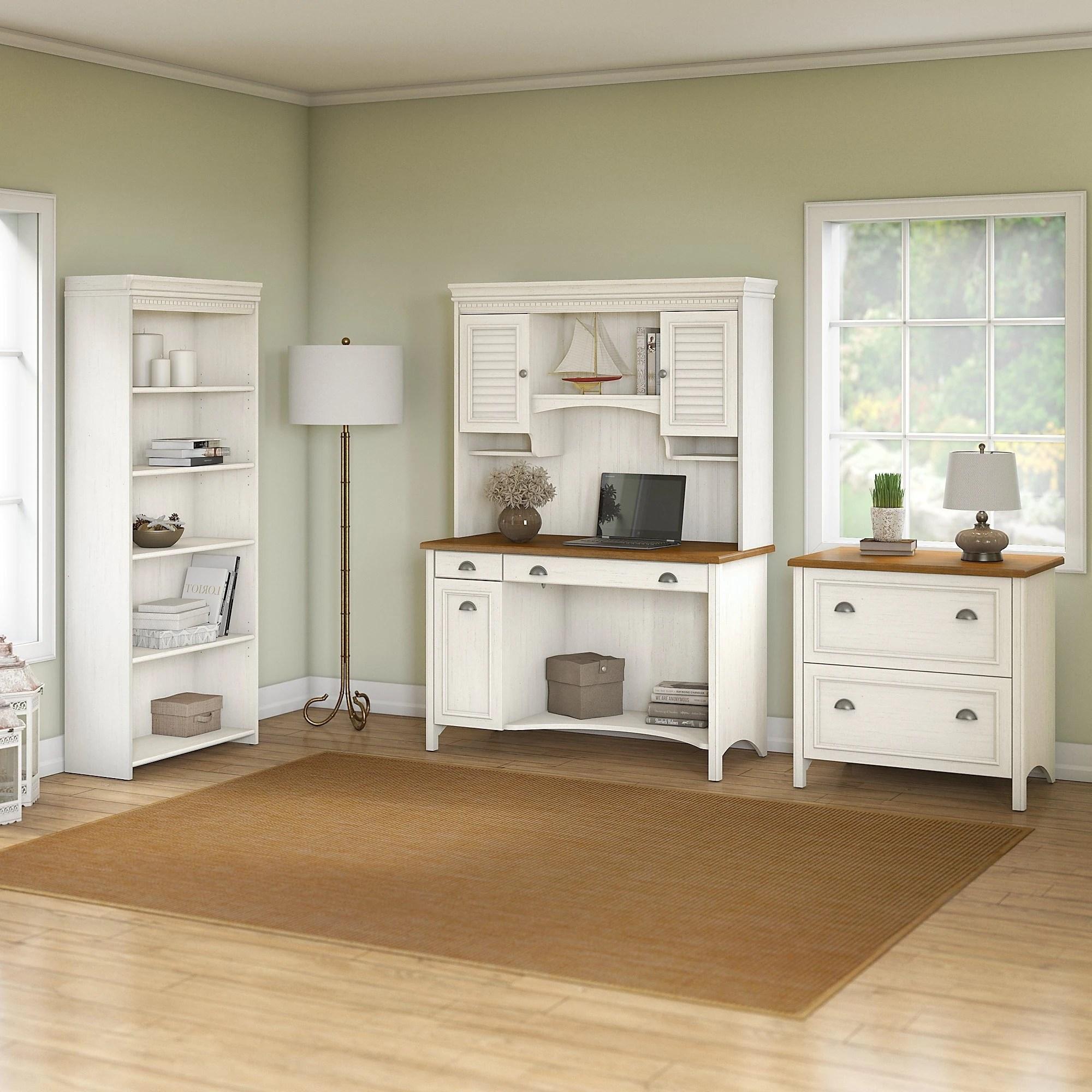 Copper Grove Pernik Computer Desk With Hutch Bookcase And Lateral File Cabinet In Antique White